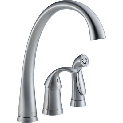 Pilar Waterfall Single-Handle Standard Kitchen Faucet with Side Sprayer in Arctic Stainless