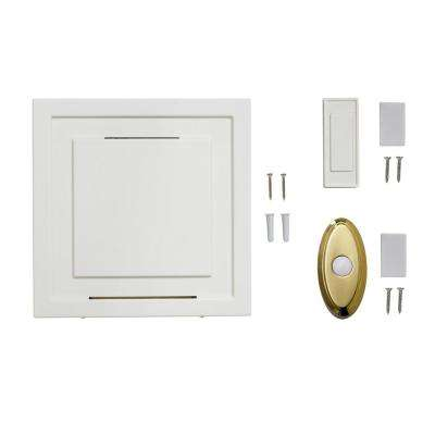 White 85 dB Wireless Battery Operated Door Bell Kit with 1-Push Button with Brass Wireless Door Bell Push Button