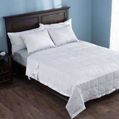 White Lightweight Down Full/Queen Blanket with Satin Weave