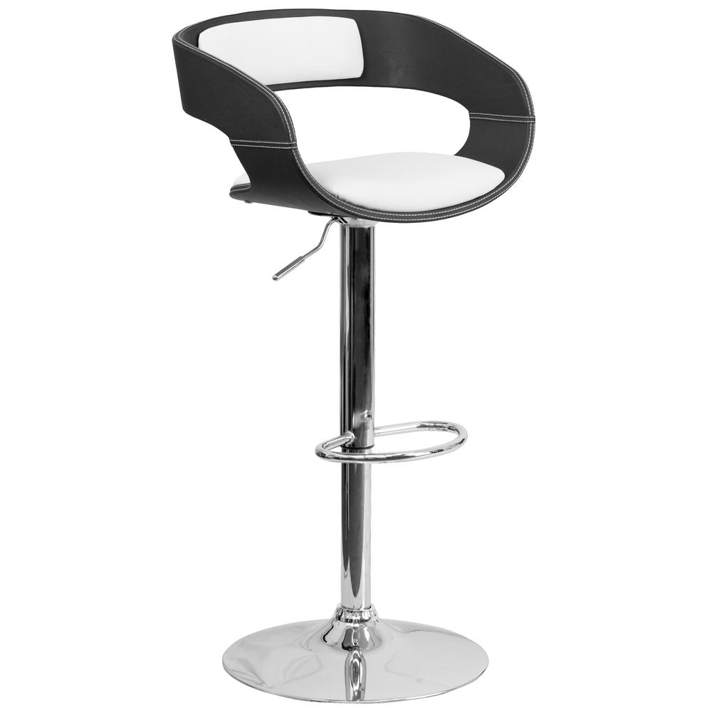 Carnegy Avenue Adjustable Height Bentwood 2-Tone Black and White Vinyl Barstool