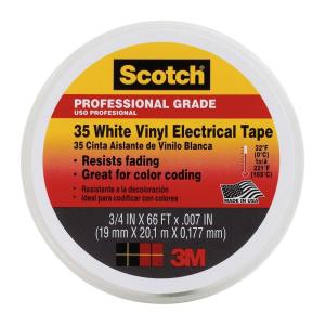 Scotch 0.75 in. x 66 ft. x 7 mil #35 Electrical Tape, White