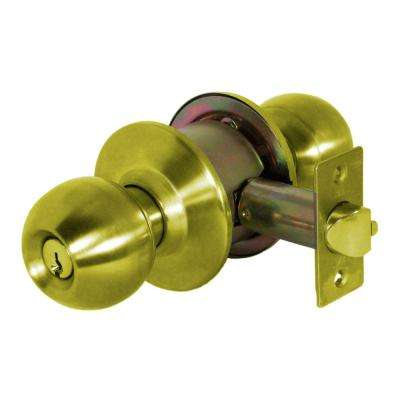 Light Duty Cylindrical Grade 3 Keyed Entry Door Knob Set in Bright Brass