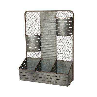 23.62 in. H Farmhouse Galvanized Wall Organizer