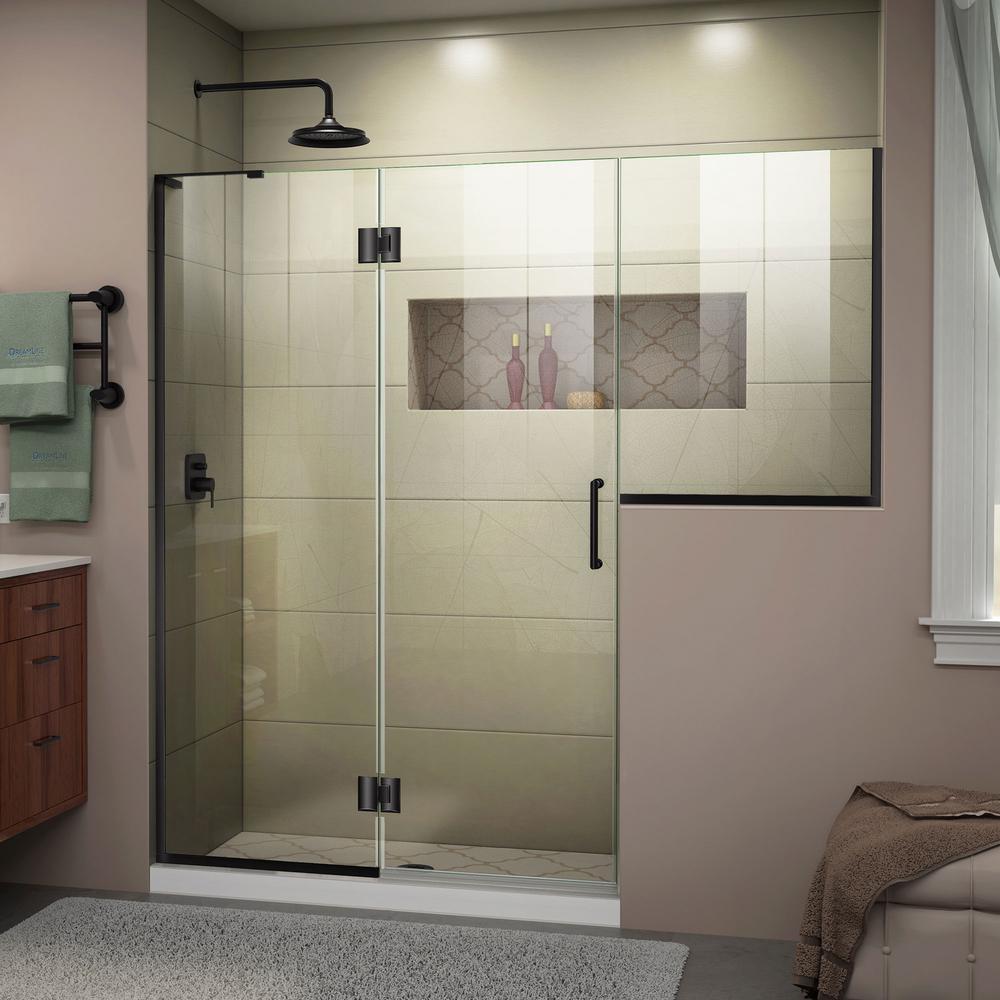 Unidoor-X 71.5 in. x 72 in. Frameless Hinged Shower Door in Satin Black