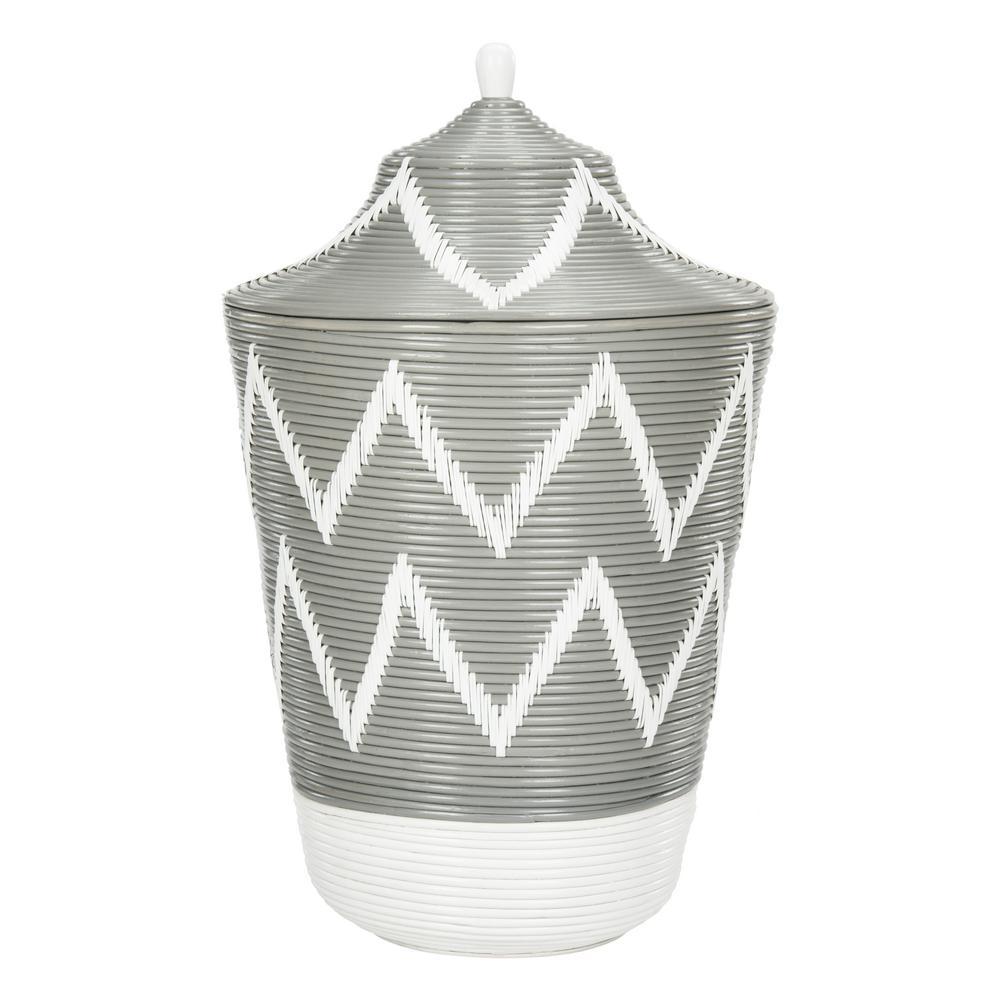 Reina Gray/White Laundry Hamper