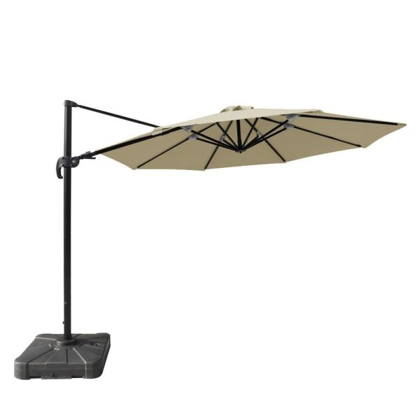 Freeport 11 ft. Octagon Cantilever Patio Umbrella in Beige Sunbrella Acrylic
