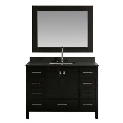 London 48 in. W x 22 in. D Vanity in Espresso with Quartz Vanity Top in Gray with White Basin and Mirror
