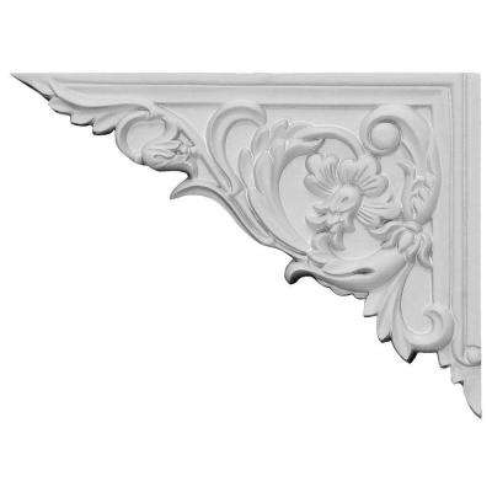 5/8 in. x 8-5/8 in. x 6-1/4 in. Polyurethane Left Flower Stair Bracket Moulding