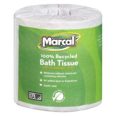100% Recycled 4.3 in. x 3.66 in. Fluffy Bath Tissue 2-Ply (80-Rolls)