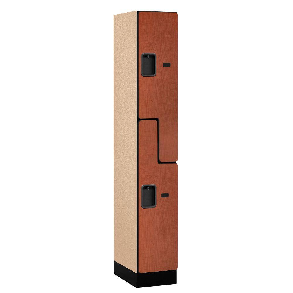 37000 Series 12 in. W x 76 in. H x 18 in. D 2-Tier S-Style Designer Wood Locker in Cherry