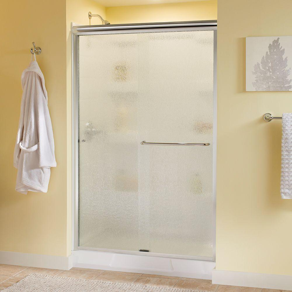 Delta Simplicity 48 In X 70 In Semi Frameless Traditional Sliding Shower Door In Chrome With Rain Glass
