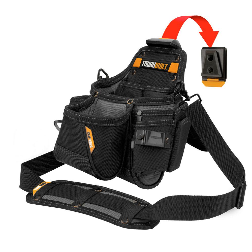 14 Compartment Plumbers Pouch And Shoulder Strap Black