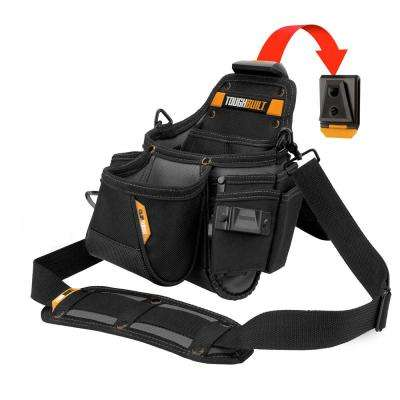 12.7 in. 14-Compartment Plumbers Pouch and Shoulder Strap, Black