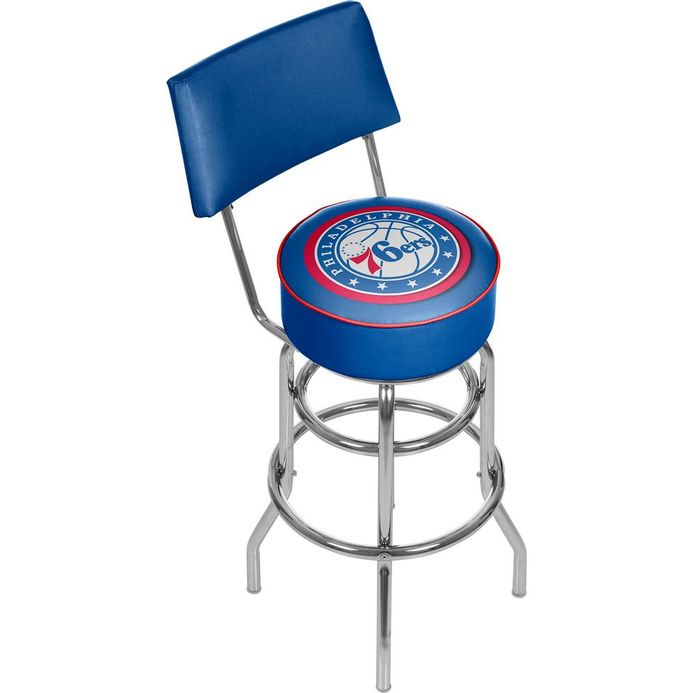 Trademark Philadelphia 76ers NBA 30 in. Chrome Padded Swivel Bar Stool