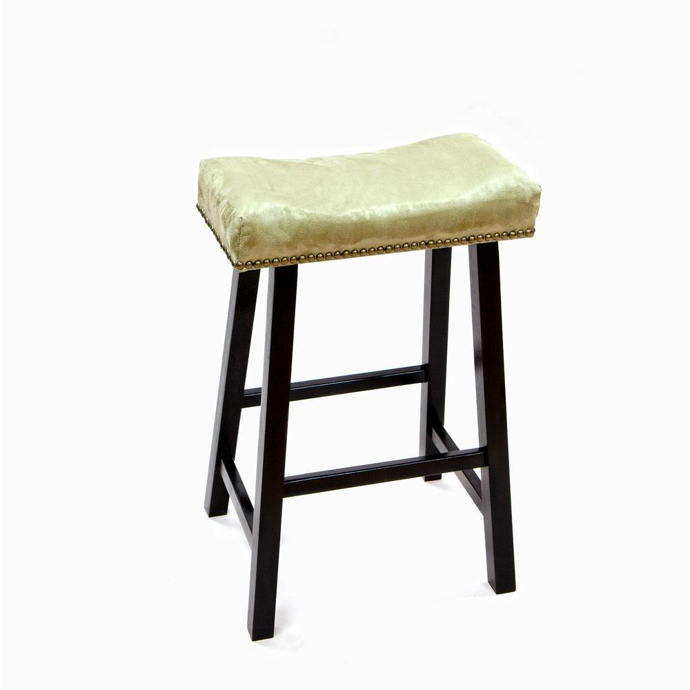 Carolina Cottage 24 in. Black Valencia Bar Stool with Apple Green Upholstered Seat-DISCONTINUED