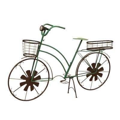53 in. x 33.5 in. Green Metal Solar Bicycle Plant Stand with Wind Spinner Spokes