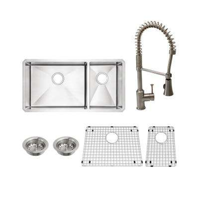 Pekoe All-in-One Undermount Stainless Steel 35 in. 60/40 Double Bowl Kitchen Sink with faucet in Stainless Steel