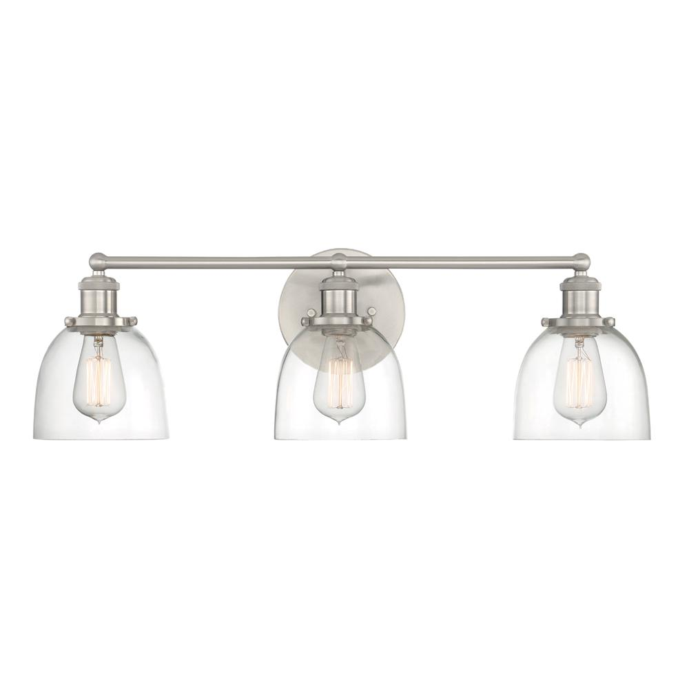 Cordelia Lighting 3 Light Brushed Nickel Vanity With Clear Gl Shades