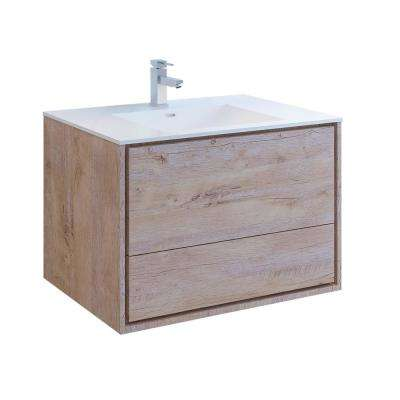 Catania 36 in. Modern Wall Hung Bath Vanity in Rustic Natural Wood with Vanity Top in White with White Basin