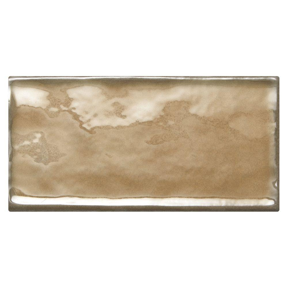 Structured Effects Balanced Taupe 3 in. x 6 in. Glazed Ceramic