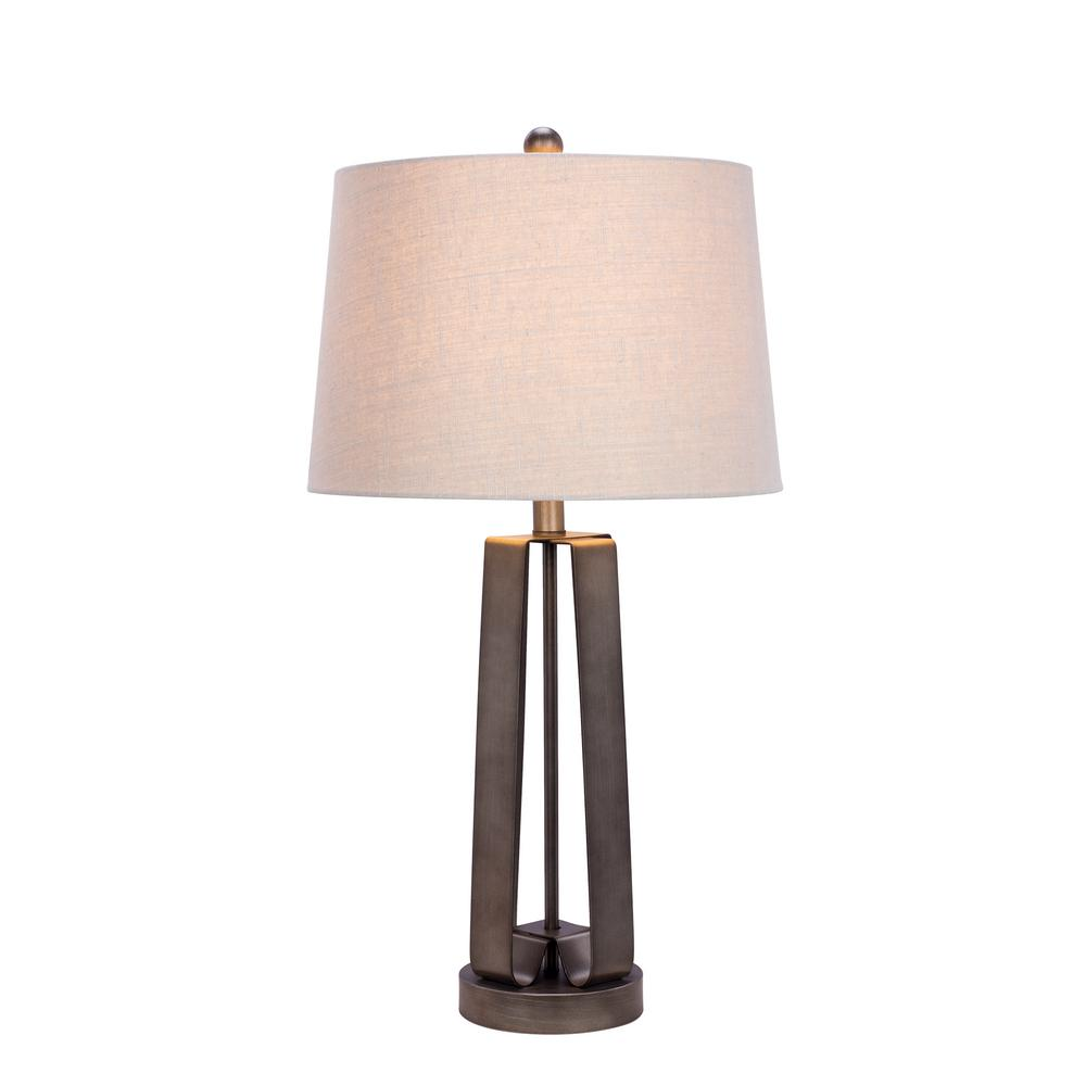 Absolute decor 28 in leaded crystal and chrome metal table lamp dark silver metal table lamp geotapseo Image collections