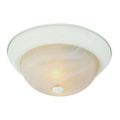 Cabernet Collection 2-Light Antique White Flush Mount with White Marbleized Shade