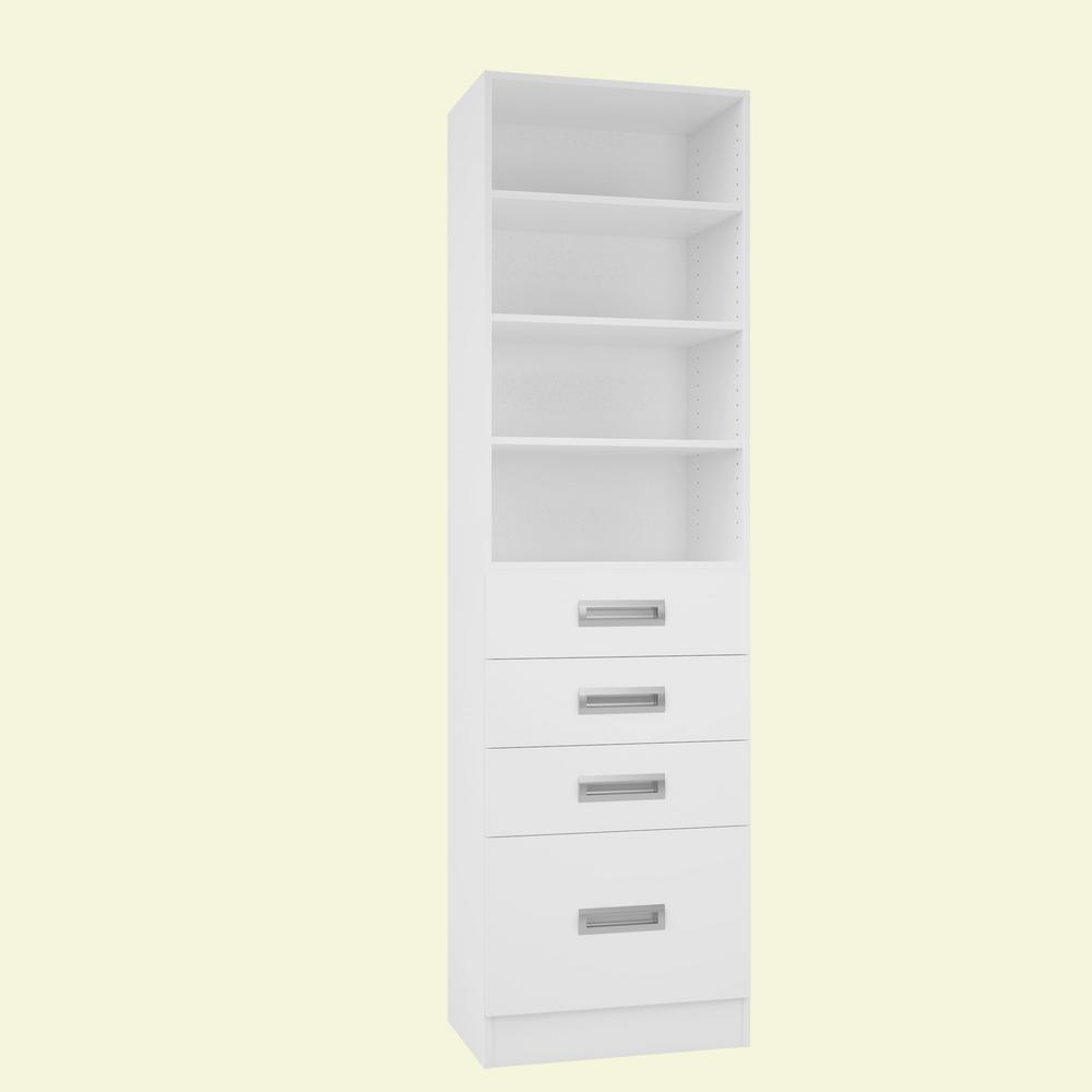 Home Decorators Collection 15 in. D x 24 in. W x 84 in. H Firenze Bianco Melamine with 4-Shelves and 4-Drawers Closet System Kit