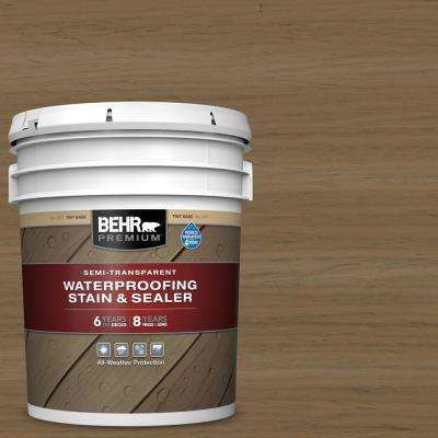 5 gal. #ST-147 Castle Gray Semi-Transparent Waterproofing Exterior Wood Stain and Sealer