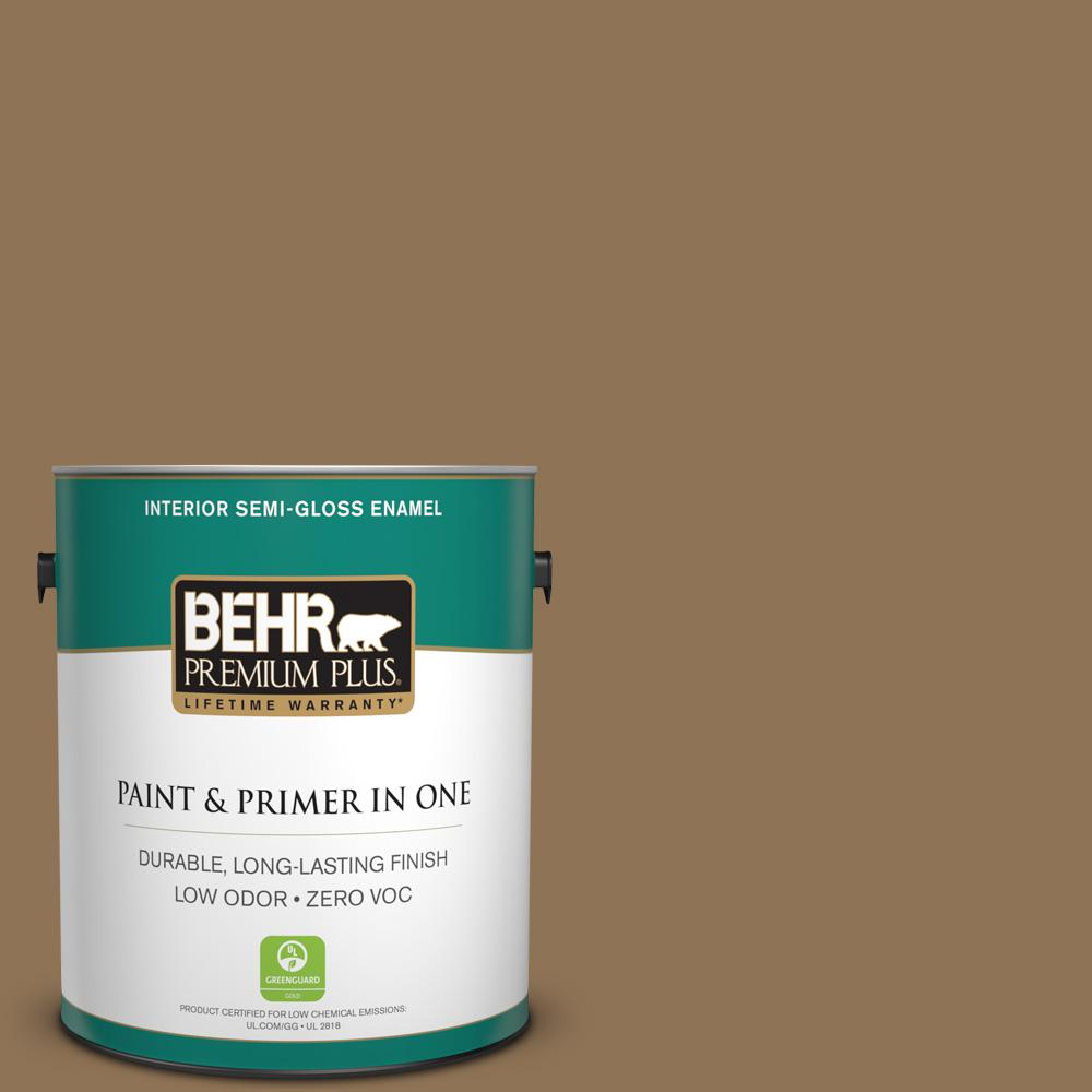 1-gal. #N270-7 Library Oak Semi-Gloss Enamel Interior Paint