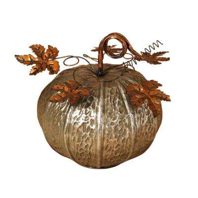 11.25 in. Elegant Silver Metal Harvest Pumpkin