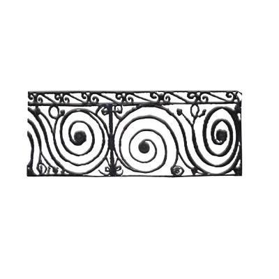 96 in. L x 38 in. H Finished Black Wrought Iron Baluster Railing Kit