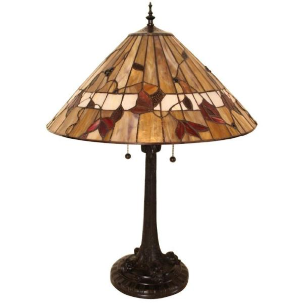 Tiffany Style Spring Blossom 25 in. Bronze Table Lamp