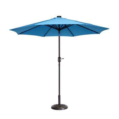 9 ft. Steel Market Solar Tilt LED Lighted Patio Umbrella in Blue