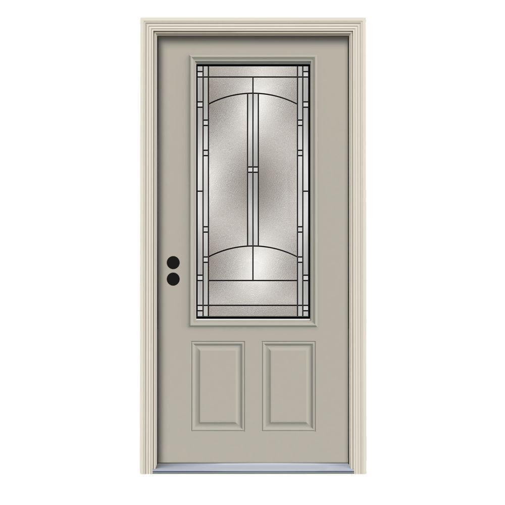 36 in. x 80 in. 3/4 Lite Idlewild Desert Sand Painted Steel Prehung Right-Hand Inswing Front Door w/Brickmould