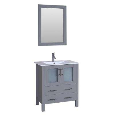 30 in. W Single Bath Vanity in Gray with Ceramic Vanity Top in White with White Basin and Mirror