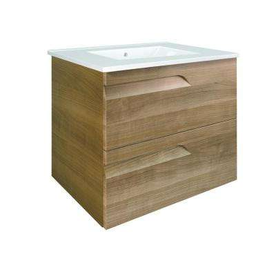Vitta 24 in. W x 19 in. D x 30 in. H Vanity in Walnut with Porcelain Top in White with White Basin