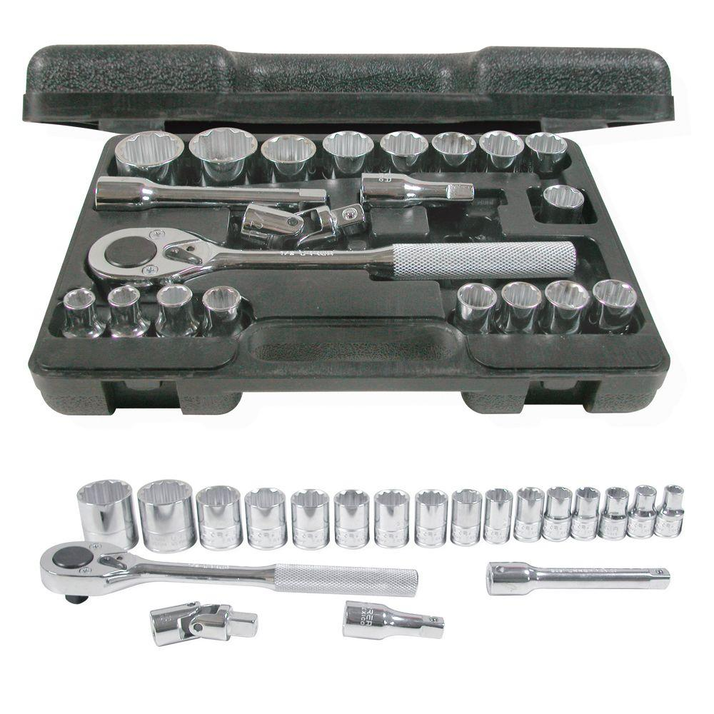 1/2 in. Drive Blow Molded 12-Point Hand Socket & Accessories Set