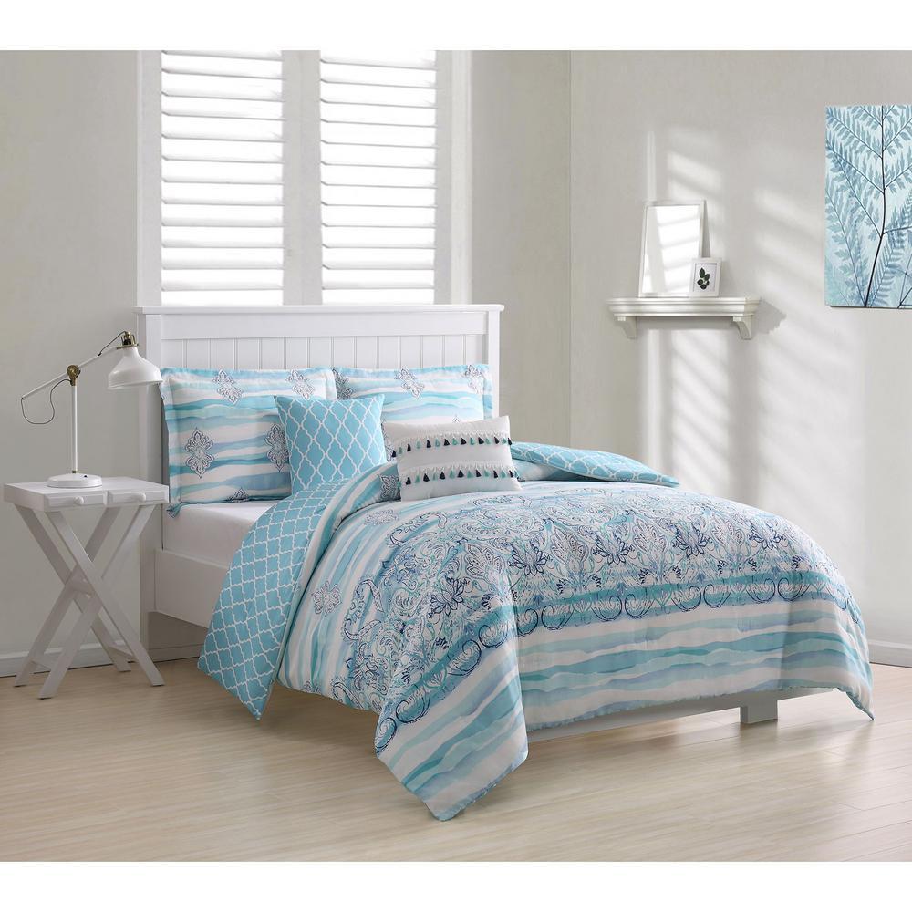 Cascade Damask 5-Piece King Comforter Set
