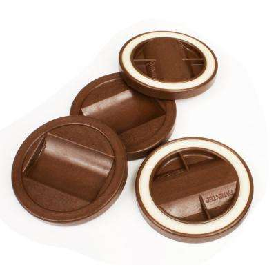 3-1/4 in. Chocolate Color Bed Roller/Furniture Wheel Caster Cup Gripper Set of 4