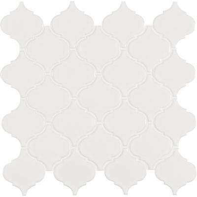 Retro Bianco Arabesque 11.3 in. x 12.2 in. x 6mm Porcelain Mesh-Mounted Mosaic Tile (0.73 sq. ft.)
