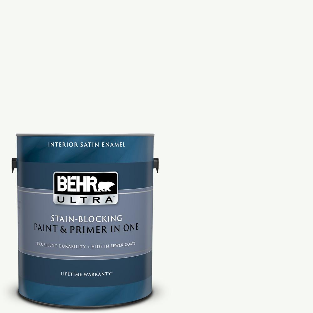BEHRULTRA BEHR ULTRA 1 gal. #UL260-14 Ultra Pure White Satin Enamel Interior Paint and Primer in One