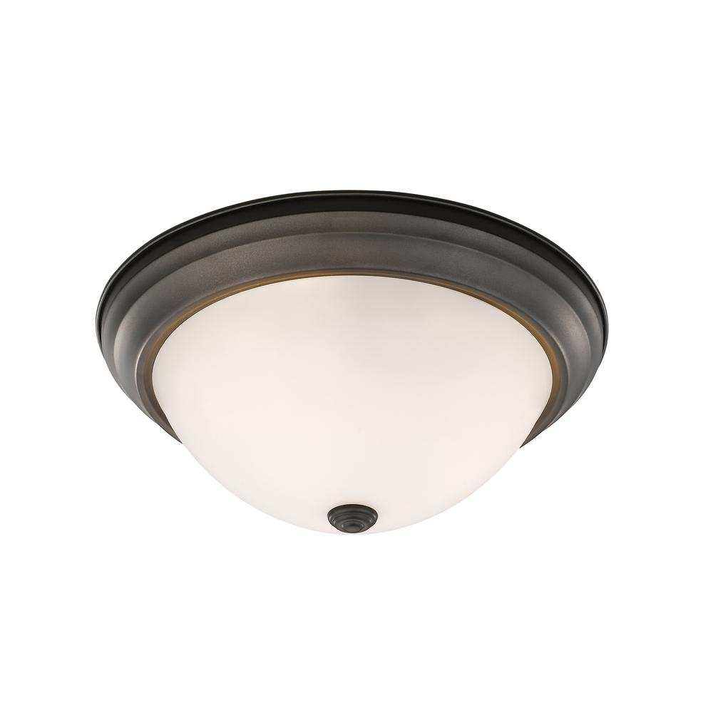 Curran 3-Light Bronze Flushmount with Frosted Glass Shade
