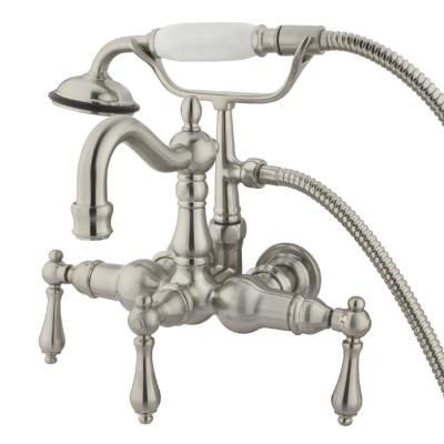 Victorian 3-3/8 in. Center 3-Handle Claw Foot Tub Faucet with Handshower in Brushed Nickel