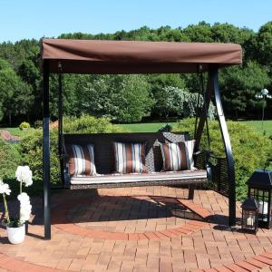 Sunnydaze Decor Deluxe Steel Frame Canopy Porch Swing With Brown Striped Cushion And Side Tables Zbo 129 The Home Depot