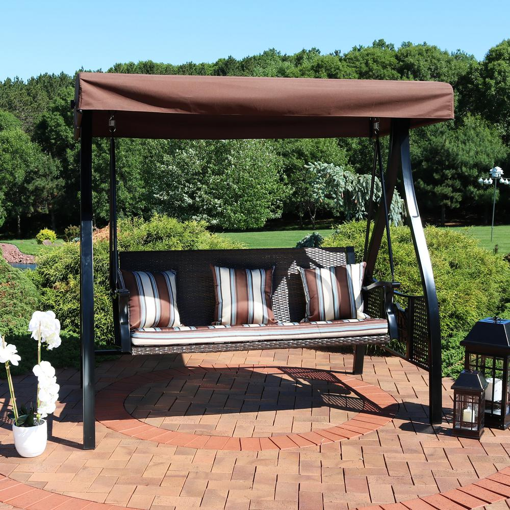 Sunnydaze Decor Deluxe Steel Frame Canopy Porch Swing With Brown Striped Cushion And Side Tables
