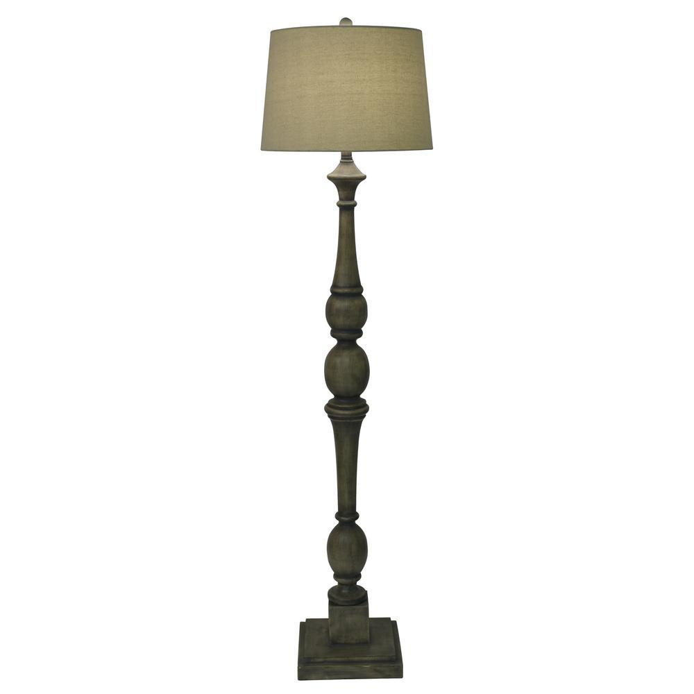 Crossmill 54 in. Warm Gray Floor Lamp with Linen Shade
