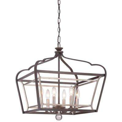 Astrapia 6-Light Dark Rubbed Sienna with Aged Silver Pendant