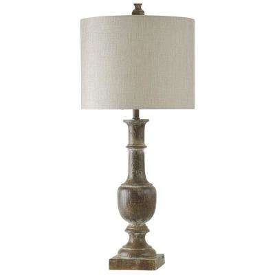 39 in. Bronze Table Lamp with White Hardback Fabric Shade