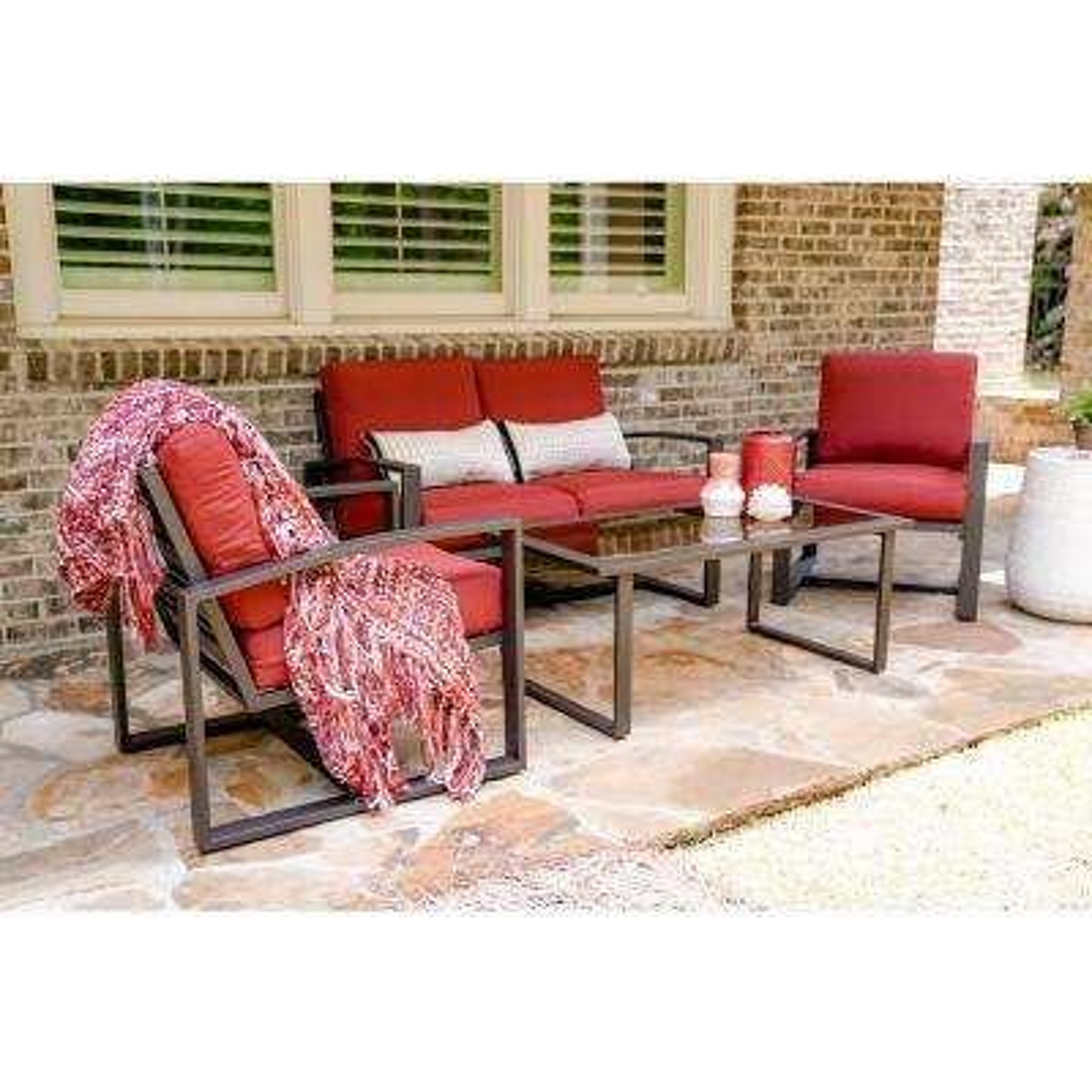 Jasper 4-Piece Aluminum Patio Conversation Set with Red Cushions