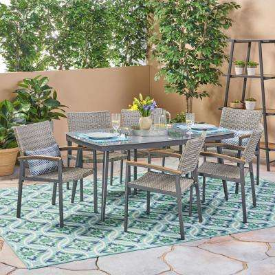 Liverpool Gray 7 Piece Aluminum And Wicker Outdoor Dining Set With